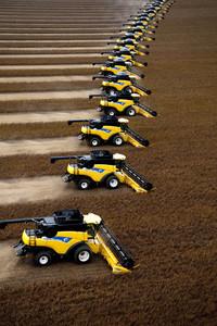 Tractors on a soya bean farm in Africa